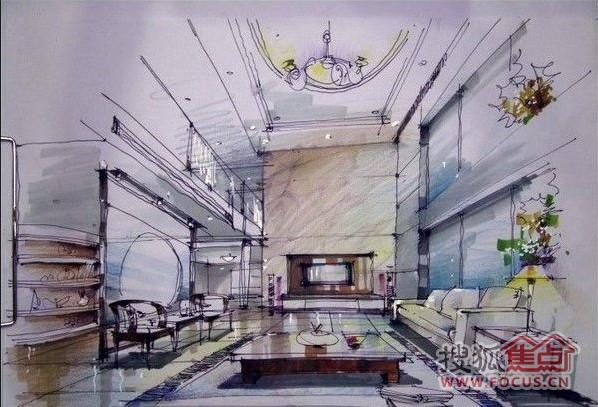 图:室内装饰手绘图,很了不起