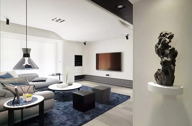 利落黑白灰 90平现代简约两室两厅装修