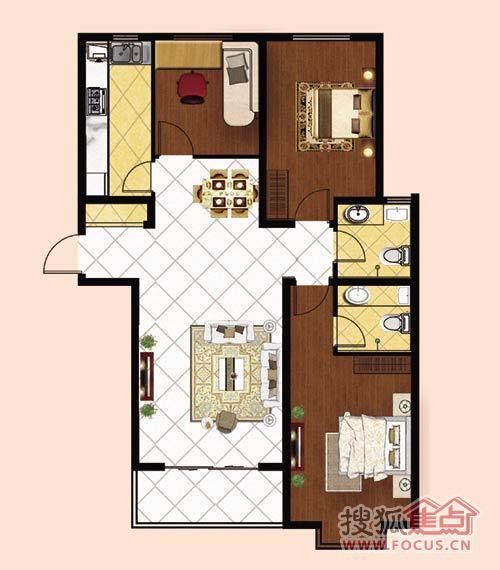 赢佳牡丹园两室一厅一厨两卫127平米户型图