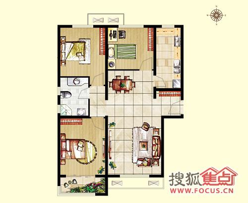 惠腾公寓三室两厅一厨一卫119.98平a3户型图
