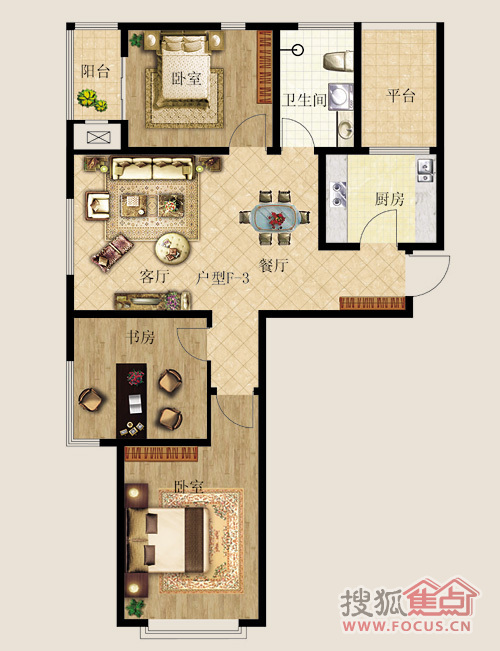 【昭华锦城】三室两厅一卫约106.05平米f3户型
