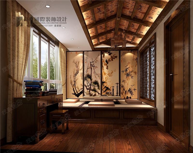 鲁能七号院180平新中式风格设计装修案例效果图图片