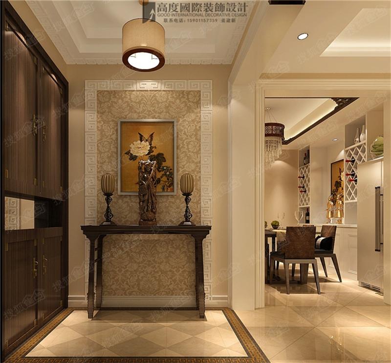 k2百合湾120平三室二厅一卫简约中式风格公寓装修效果图案高清图片