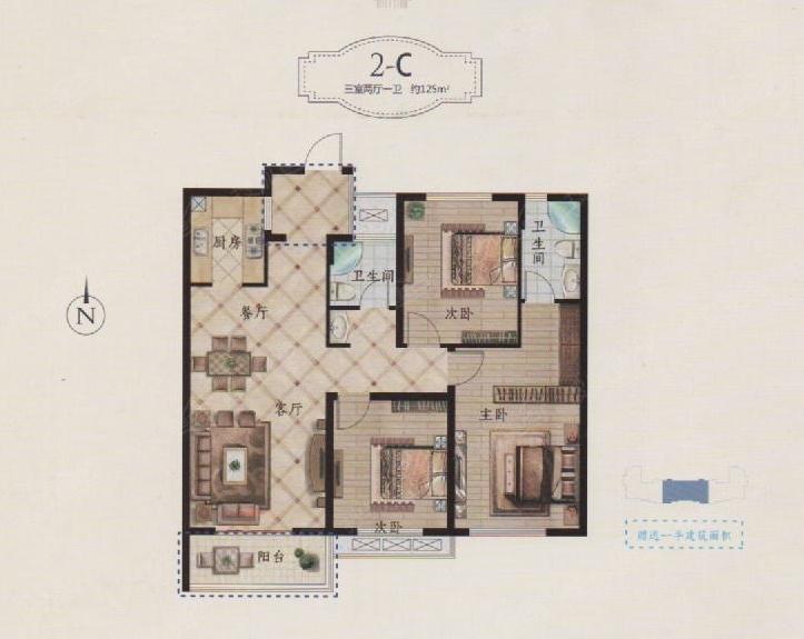 110平三室两厅一卫设计图展示