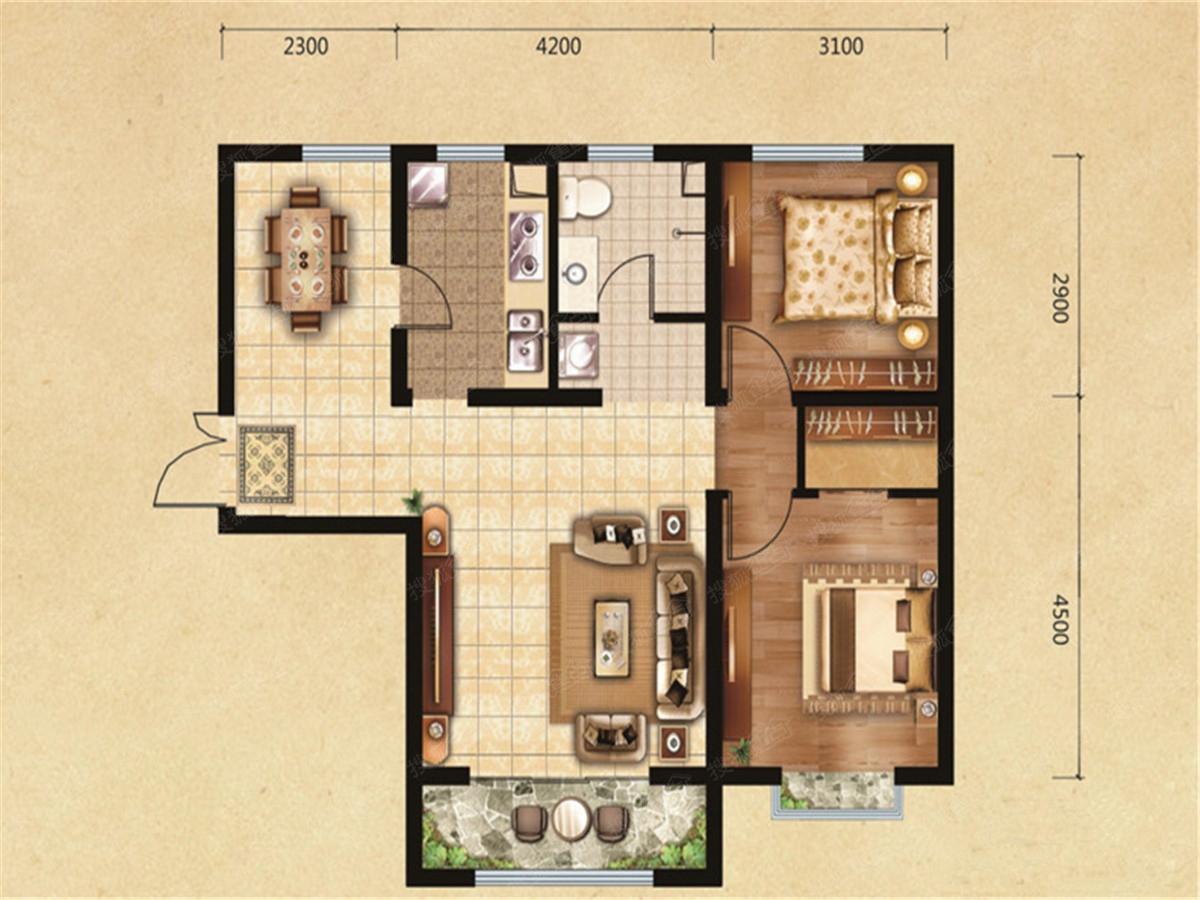瑞成观邑户型图2居室89.27平米_瑞成观邑户型图设计图