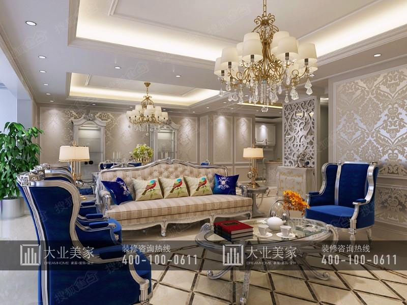 【大业美家装饰】v7西园简欧风格复式四室两厅装修设计效果图图片