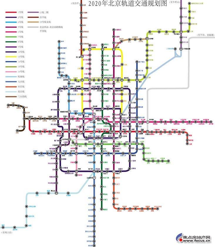 北京2020年地铁规划图