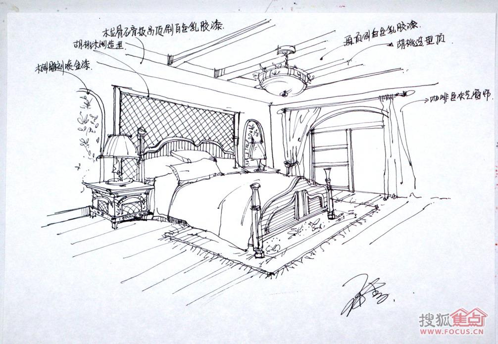 卧室手绘效果图