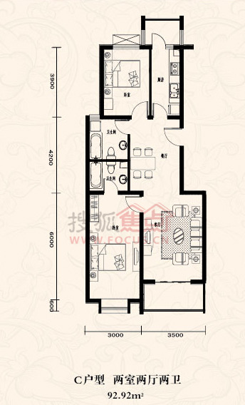 东杉国际三居室户型图高清图片