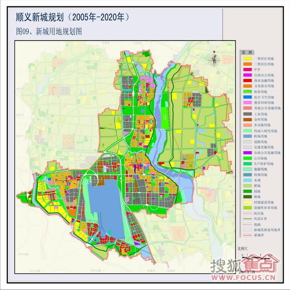 图:根据顺义新城2005-2020年用地规划图,蓝岸周边没看到工业用地,主要