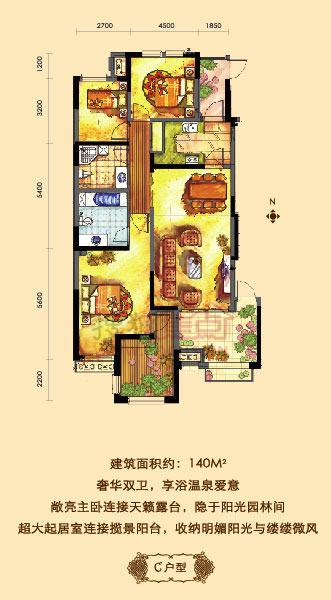 金科帕提欧Ⅱ美遇11号楼c三室两厅两卫140平米户型