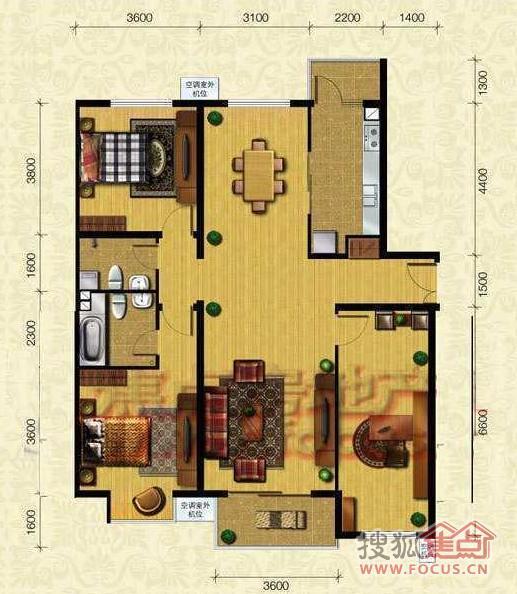 首开·知语城b2-2三室两厅两卫159平方米户型