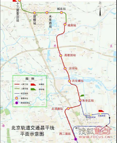 軌道交通昌平線車站站名依次為:13號線西二旗站,北清路站,朱辛莊圖片
