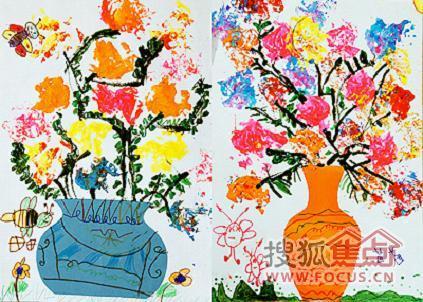 图:苹果树幼儿园盛开娇艳花朵的美术课堂