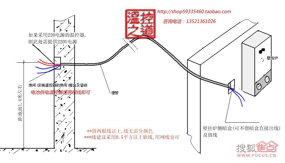 温控器留线指导 温控器一般是安装在房间,而壁挂炉一般安装在阳台,两者之间需要两根控制线,所以,作为壁挂炉住户,无论是否打算马上装温控器还是觉得没有必要安装温控器,都应该在装修时预留线(温控器安装位置和壁挂炉之间),这样,以后有必要的时候可以随时安装温控器且成本低,不会因为没有预留线而装价格较高的无线温控器。 1、温控器的安装位置应考虑: A、容易接近和操作的位置; B、最能代表平均温度的位置; C、人经常活动的房间,可根据每个家庭情况选择,一般是客厅; D、尽量避开冷源、热源、风道,也就是说温控器安装位