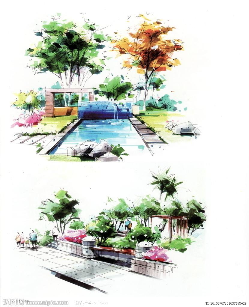 景观绿地手绘效果图