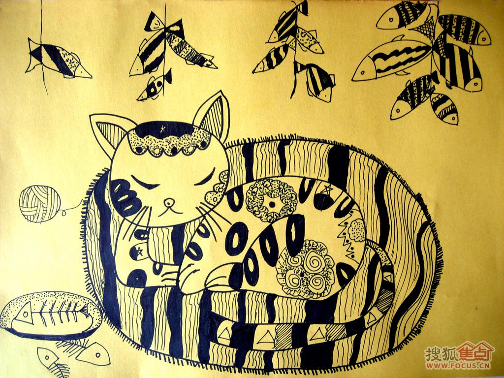 6岁半学生画的黑白线描画.