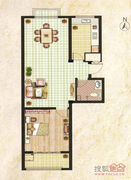滨海北美枫情一室两厅一卫84平米户型图-滨海北美枫情最新动态 滨海