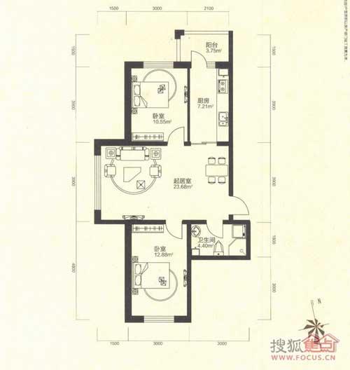 珠江帝景珠江帝景兩室一廳一衛58.72㎡戶型圖圖片