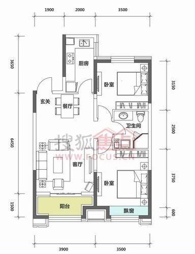 两室两厅一卫建筑面积91.51-98.04平米户型图