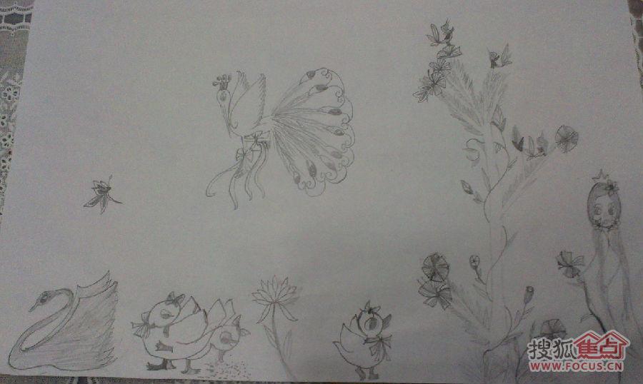 我闺女画的山里的小动物,可爱吧!铅笔画的哦!