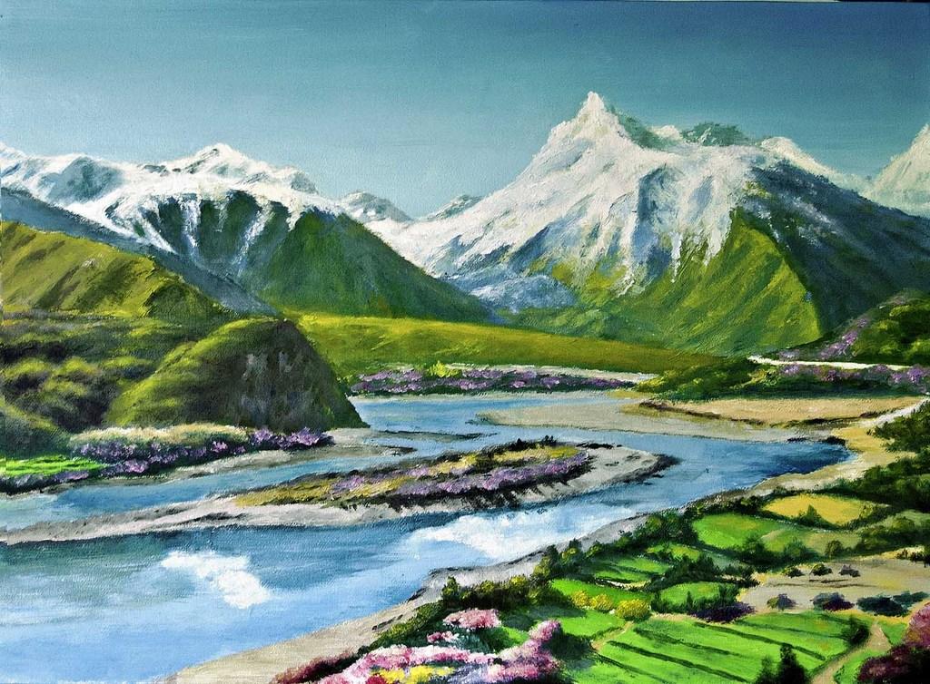 西藏雪山河流景色   人迹罕至的地方看到了公路,农田.