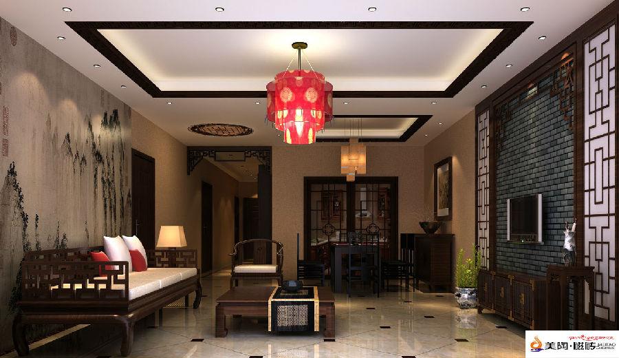 美陶瓷砖奉上 145㎡ 客厅瓷砖铺贴图 效果图 高清图片