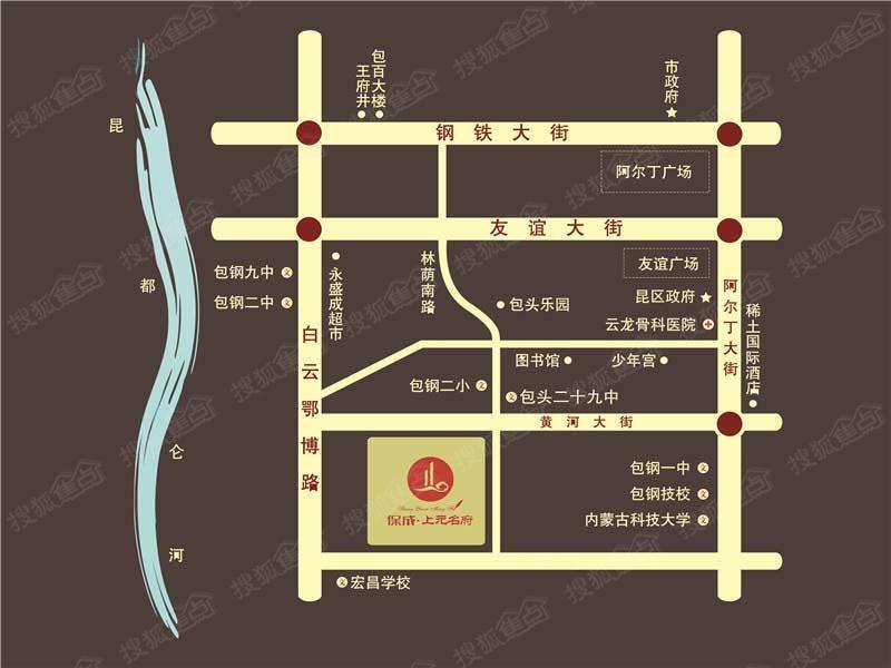 保成上元名府交通图 包头搜狐焦点网 高清图片