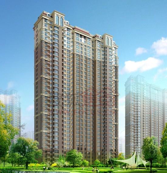 沧州建工凤凰城一期高层住宅单体效果图高清大图 高清图片