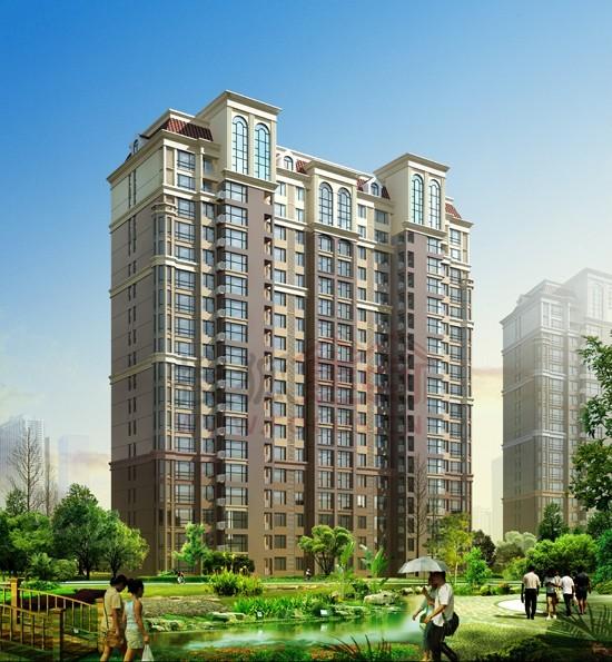 小高层单体住宅效果图 高清图片