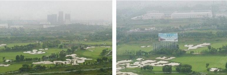 远处看,百悦城完全被绿色