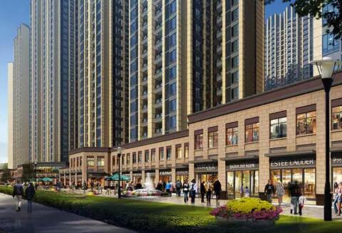 驿都城采用现代海派建筑外立面设计,高层住宅立面运用简洁的线条搭配