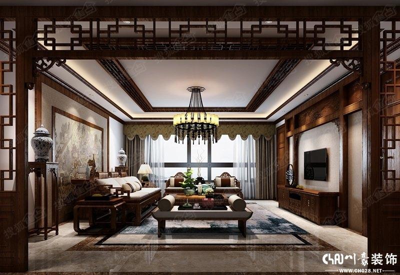 顶面造型和墙面造型采用实木材质原木色调,这样很好的呈现了中式