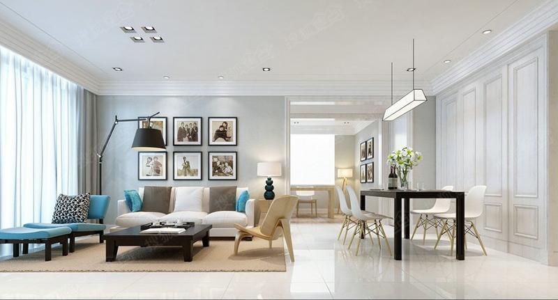 客厅墙面以乳胶漆为主,电视墙选择了爵士白石材,墙纸和石膏线条的搭配
