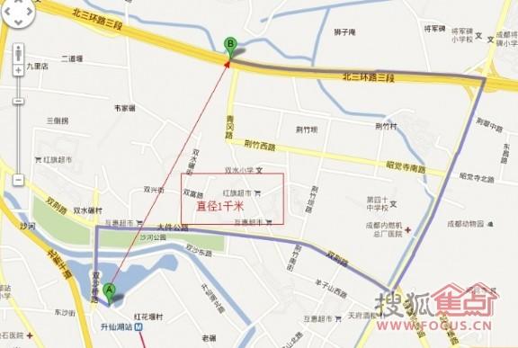 绿地世纪姐到地铁1号线升仙湖站的真实距离