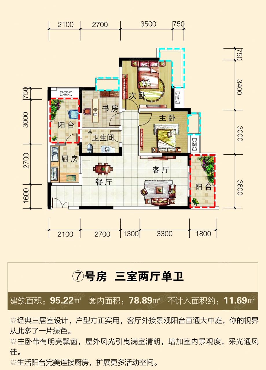 丽都锦城7号房户型图3室2厅1卫建面95.22㎡