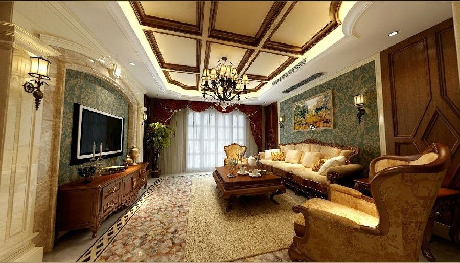 吊顶也是采用了美式风格的木色假梁进行搭配,会让这个家显得格外的图片