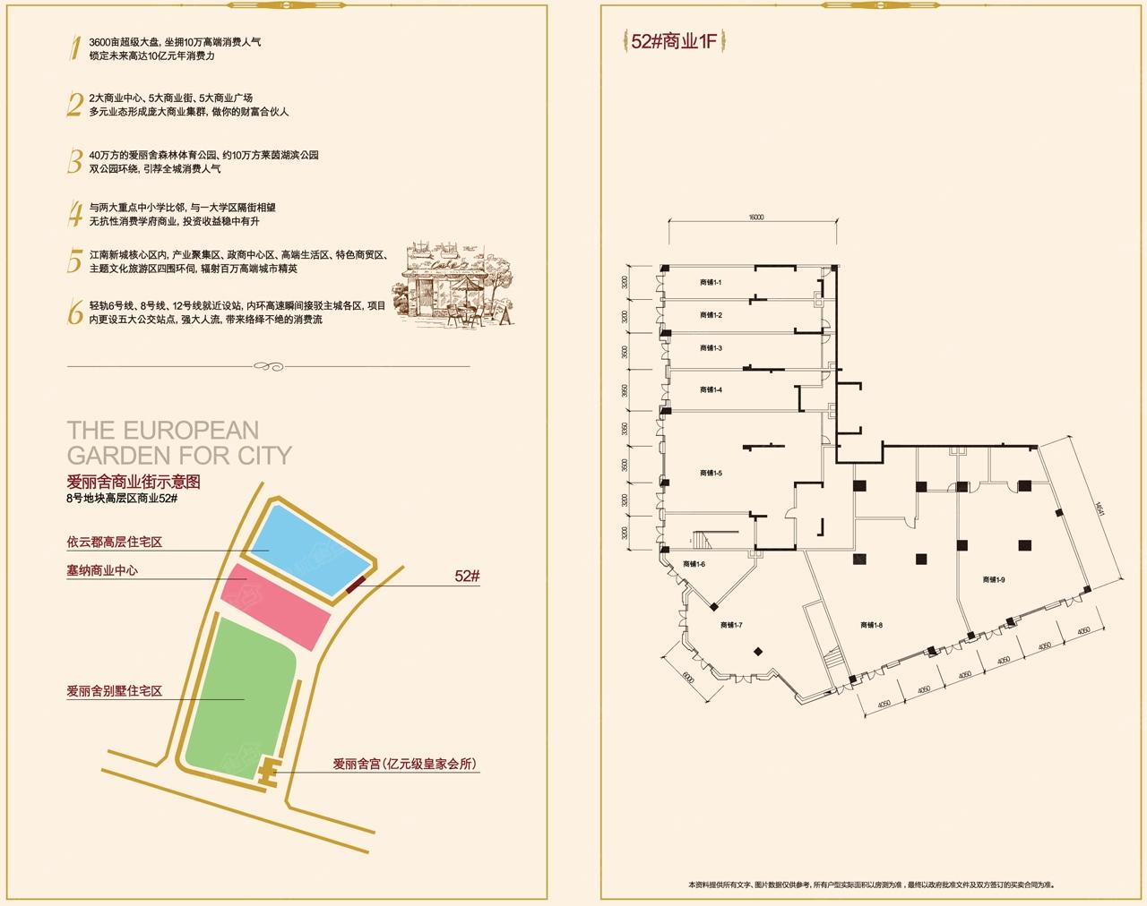 融创欧麓花园城爱丽舍宫商业街52#1f平面户型图户型