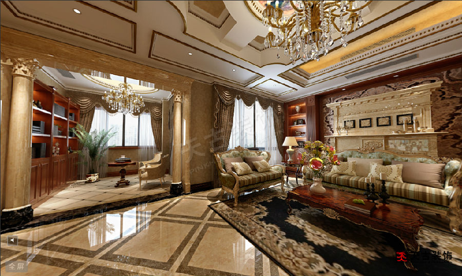 重庆远洋高尔夫叠拼别墅(法式混搭)装修设计方案图片