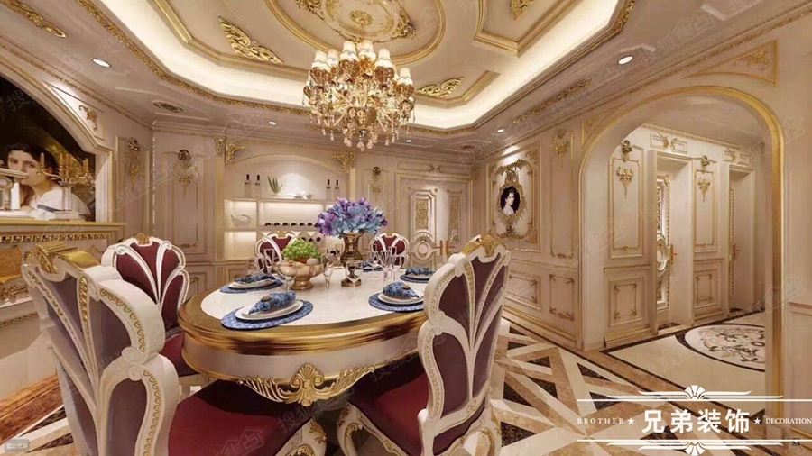 弟装饰龙湖源著法式风格奢华宫廷装修设计效果图