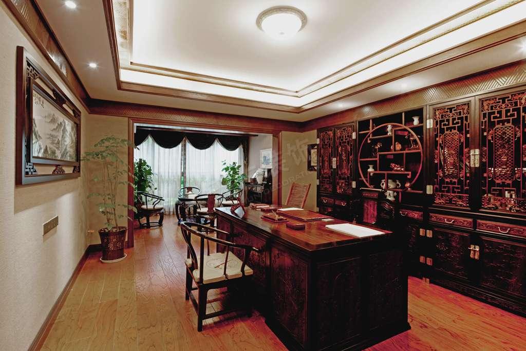 劲力五星城花园洋房装修设计丨办公室中式风格装修实景图图片