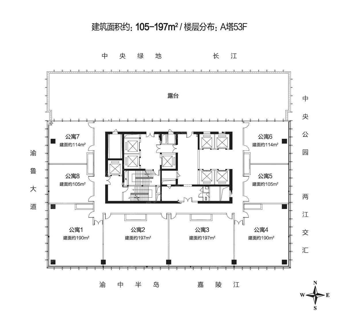 东方国际广场a栋53f楼层平面图