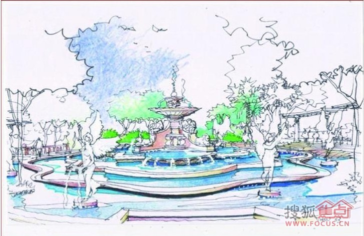 喷泉俯视图手绘