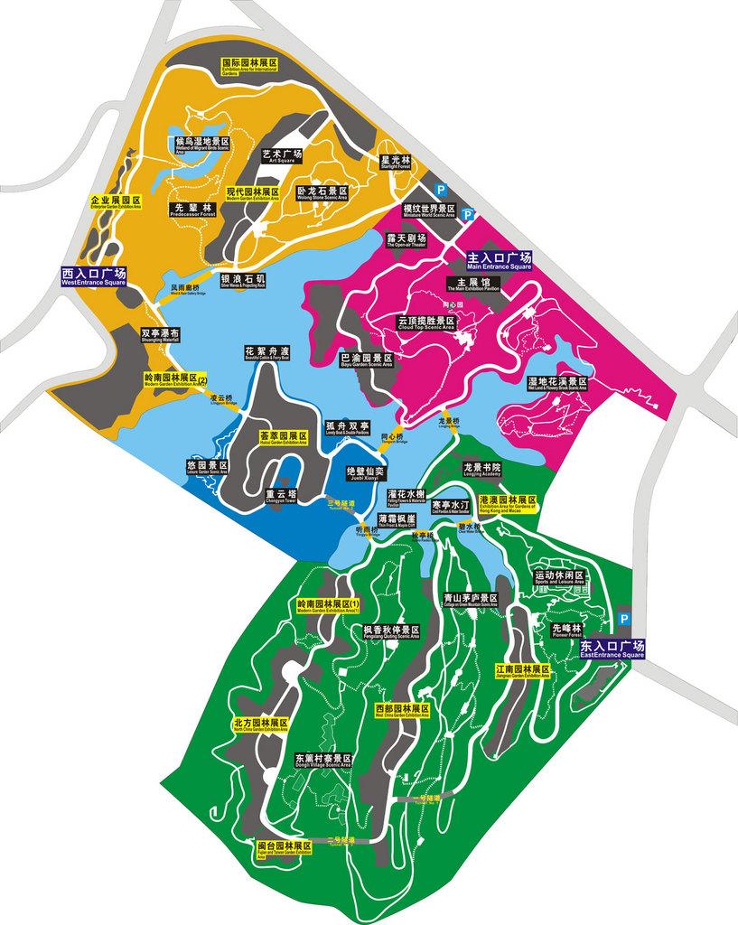 图:园博园平面图,交通图