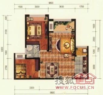 天仙湖莱茵半岛c1户型两室两厅一卫户型