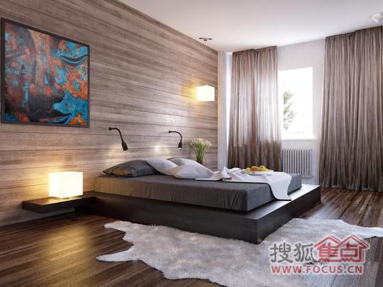 木质条纹床头墙从左往右延伸,把视线引导至窗户景致,增加卧室的视觉