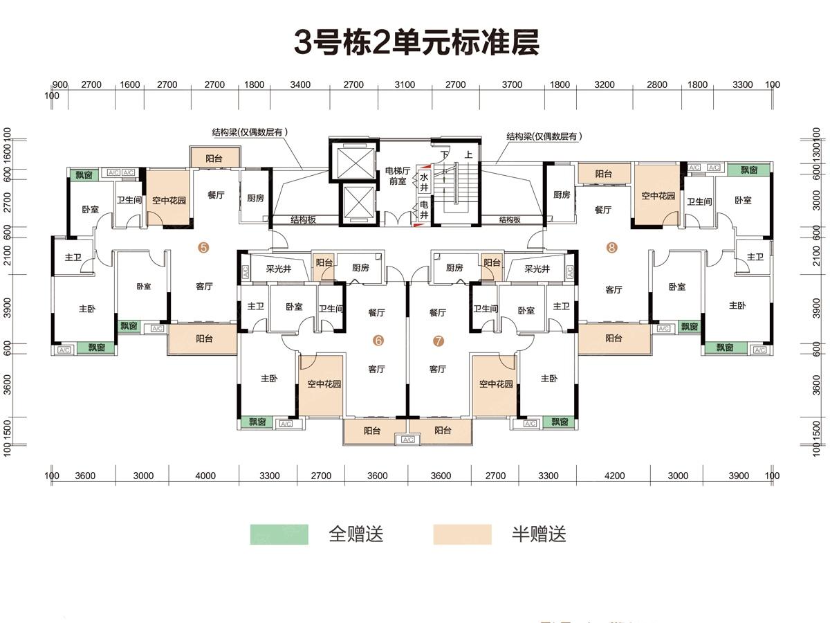 3期3号栋2单元楼层平面图