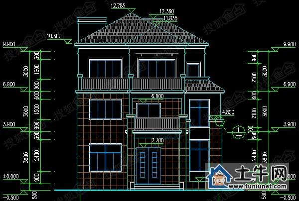 农村三层带阁楼自建别墅设计图-农村房屋设计图