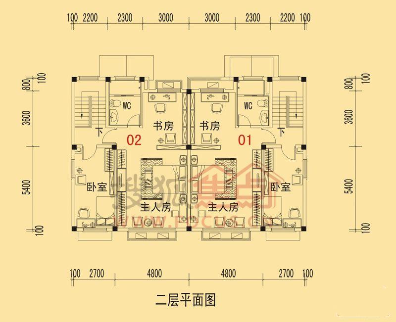 碧桂园山湖城双拼美墅e-c三室两厅两卫153.39㎡二层平面图户型图片