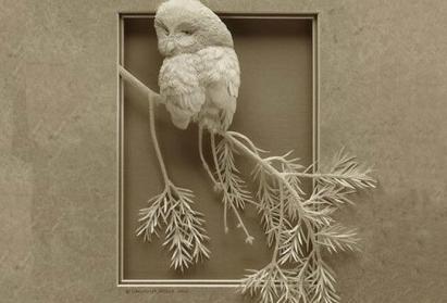 用手术刀雕刻出的立体纸雕作品!